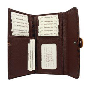 Billetero de señora de la marca Marsanpiel. Capacidad para 15 tarjetas. Con monedero exterior.