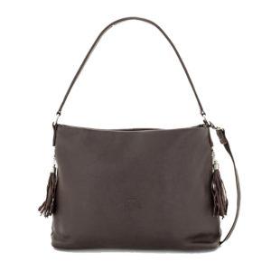 Espectacularl bolso de señora fabricado en cuero de primera calidad. Disponible en color marrón oscuro o topo