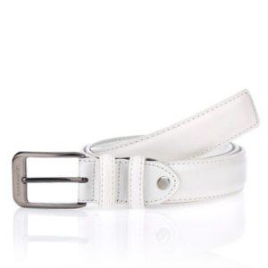 Cinturón de piel blanco paracaballero de la marca Marsanpiel. Con una piel vacuno calidad