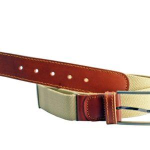 Cinturón de hombre fabricado en piel vacuno y lona elástica de Márquez. Puedes usar este cinturón con cualquier pantalón