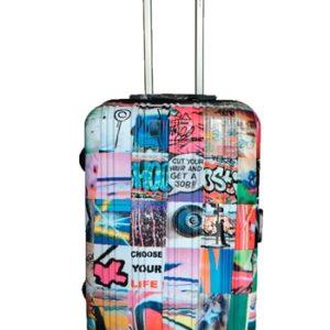 Maleta de cabinaArtvi de la colección Rock original por su diseño de fotografías divertidas para los jóvenes viajeros. Estos viajantes podrán conquistar el mundo con todo lo imprescindible en su maleta ya que cuenta con un interior espacioso y de calidad