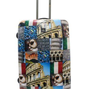 Maleta de viaje mediana con fotografías de las ciudades de Italia más visitadas y universales; Roma