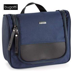 Neceser de viaje para hombre fabricado por la marca Bugatti para complementar su colección Contratempo. Este práctico neceser dispone de una percha que facilita