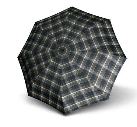 Paraguas clásico de hombre marca punto rojo que ha diseñado la colección 878 T2 Duomatic donde destaca la resistencia de sus paraguas y la distinción que aporta su estampado de cuadros