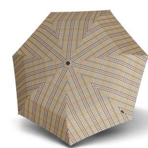 Paraguas clásico marca punto rojo que muestra un diseño sencillo donde destaca el estampado de cuadros con diferentes tonalidades