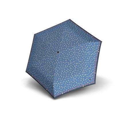 es un ideal complemento para llevar los días de lluvia por su tamaño pequeño de bolsillo y es el paraguas más ligero de la gama de productos de Knirps. Tiene un diseño original de redonditas sobre un fondo de color azul o negro