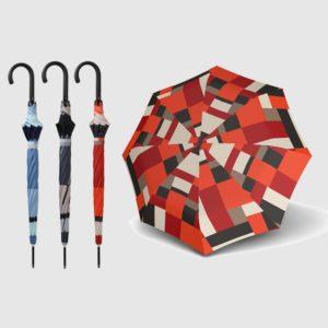 """Paraguas largo de mujer marca doppler. Perteneciente a la colección Fiber. El diseño de este paraguas es realmente increible con unos modernos diseños pero siempre basado en el clásico """"cuadro"""". Con apertura automática. Sin duda"""