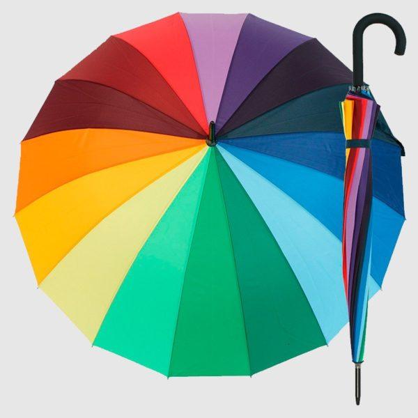 Paraguas largo multicolor para señora