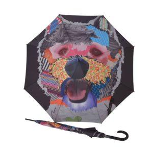 Curioso y original paraguas largo para señora y caballero con un bonito estampado pop-art de un perro