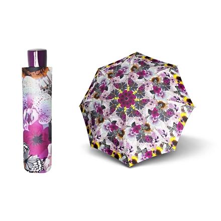 Paraguas mini marca Doppler con diseño floral de colores vivos