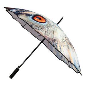Paraguas original con una imagen de un buho con un realismo que te sorprenderá. Sus 16 varillas de fibra le ofrecen alta resistencia al viento con una estructura interna realmente innovadora.