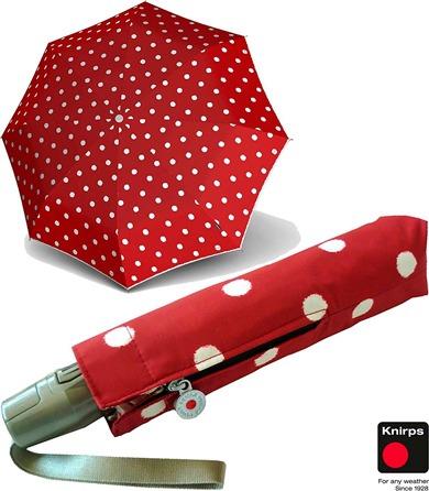 Paraguas original de mujer marca Knirps que te enamorará por sus fondos de colores lisos y sus estampados de lunares