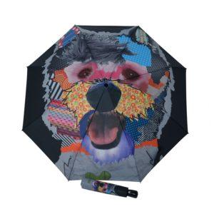 Original paraguas de mujer que muestra el dibujo de un simpático perro estilo pop-art con las mejores terminaciones. La firma Doppler vuelve a sorprendernos con el diseño de este modelo de la colección ART