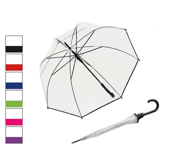 Paraguas original transparente de la marca Derby. El famoso paraguas tipo seta ahora lo tenemos con un fino vivo en colores para que nos dé un toque de color tan de agradecer los días de lluvia. Su cúpula transparente nos premite ver hacia donde vamos dejando pasar la luz.