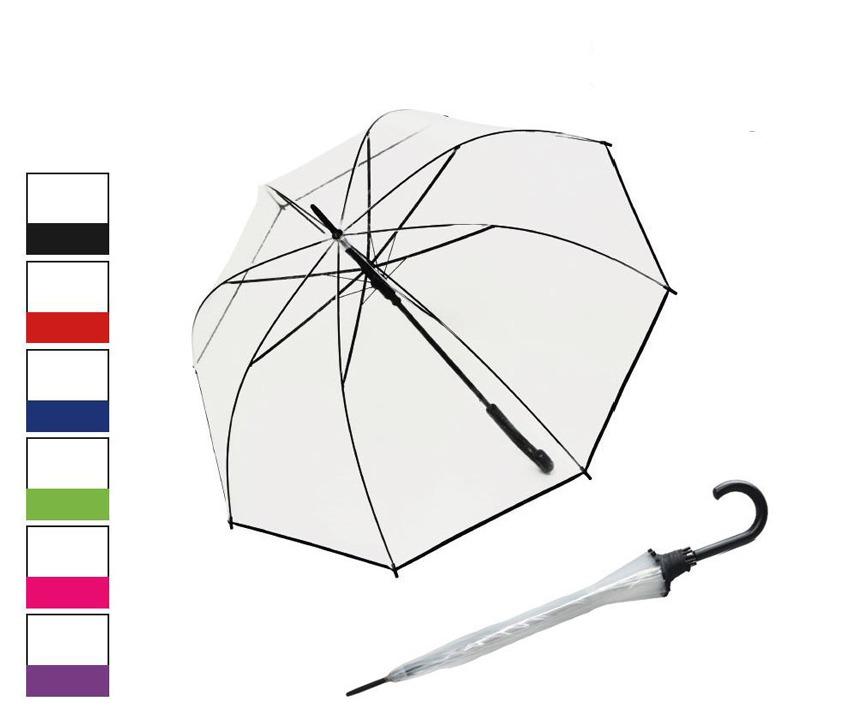 """<p><strong>Paraguas original transparente</strong> de la marca <a title=""""ver más paraguas Derby"""" href=""""http://www.marroquineriaymaletas.es/15_derby""""><strong>Derby</strong></a>. El famoso <strong>paraguas tipo seta</strong> ahora lo tenemos con un fino vivo en colores para que nos dé un toque de color tan de agradecer los días de lluvia. Su <strong>cúpula transparente</strong> nos premite ver hacia donde vamos dejando pasar la luz.</p>"""