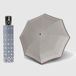 Paraguas pequeños de bolsillo Doppler de la colección Fiber. Es un paraguas ligero y perfecto para llevar en cualquier bolso o mochila. Con un diseño elegante y moderno se catacteriza por predominar el diseño en lunares. Con apertura abre-cierra.