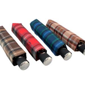 Paraguas plegable unisex de cuadros marca Doppler. Con una estampación clásica de cuadros en colores burberry