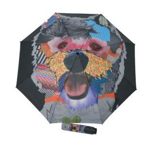 Paraguas para mujer plegable con tamaño reducido de la marca Doppler. Modelo Patchdog de la famosa colección Modern Art